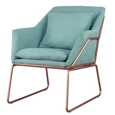 Fotel Tale miętowy na podstawie w kolorze różowego złota