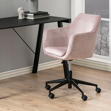 Fotel biurowy Marcelio jasnoróżowy welur