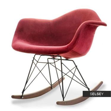 Krzesło bujane MPA roc tap bordo-czarny orzech z tkaniny velvet