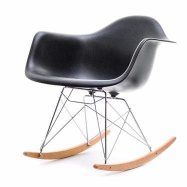 Fotel bujany MPA ROC czarny designerski bujak z podłokietnikami