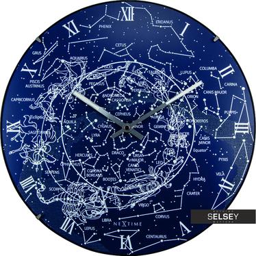 Zegar szklany Milky Way Dome średnica 35cm fluorescencyjny