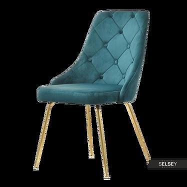 Krzesło Aldi zielone na złotych nogach pikowane