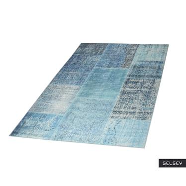 Chodnik Patchworkowa Flora niebieski 75x300 cm