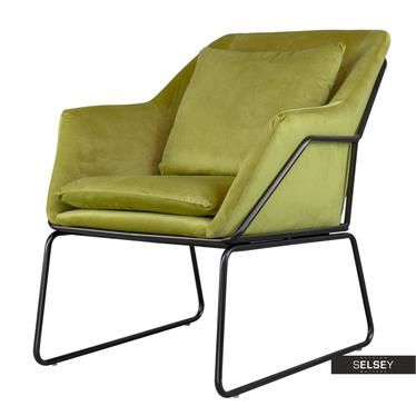 Fotel Tale oliwkowy na czarnej podstawie