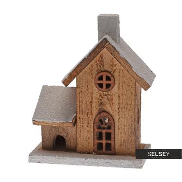 Dekoracyjny domek drewniany LED 20 cm