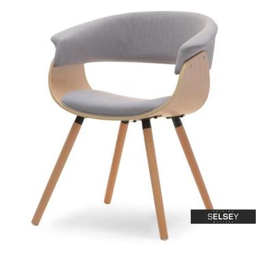 Krzesło Elina szare - jasny dąb z drewna giętego