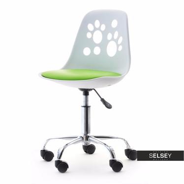 Fotel biurowy Foot biało - zielony dziecięcy do biurka