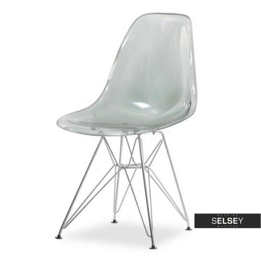 Krzesło MPC rod transparentne dymione na chromowanych nóżkach