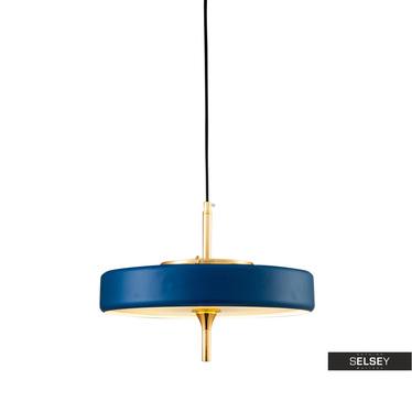Lampa wisząca Chicago niebieska ze złotymi elementami