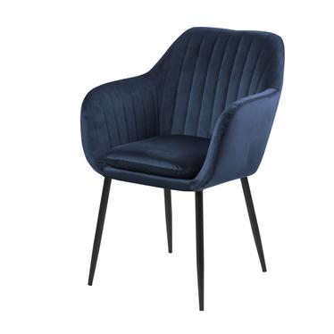 Krzesło tapicerowane Elidi granatowe na metalowej podstawie