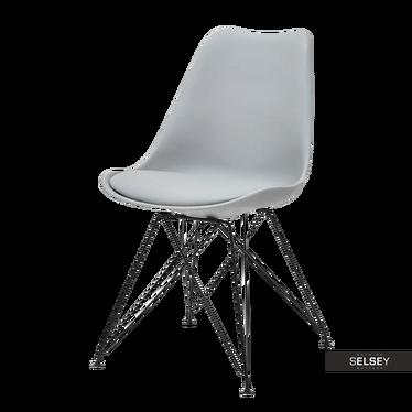 Krzesło Luis rod szare na czarnej podstawie