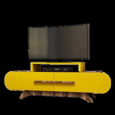 Szafka RTV Ovalia 145 cm z żółtym frontem