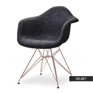 Krzesło MPA rod tap czarne glamour-miedź do stylowego salonu