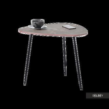 Stolik kawowy Rosin 59x56 cm brązowy marmur - czarny
