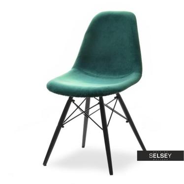 Krzesło MPC wood tap zielono-czarne tapicerowane do jadalni