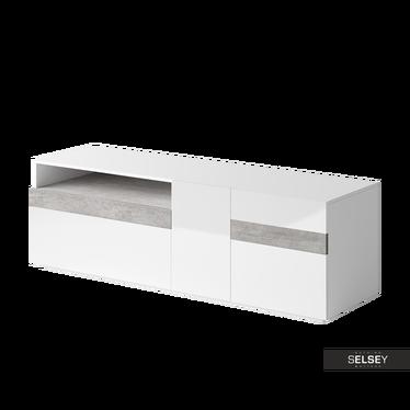 Szafka RTV Dexter dwudrzwiowa biała z elementami beton Colorado