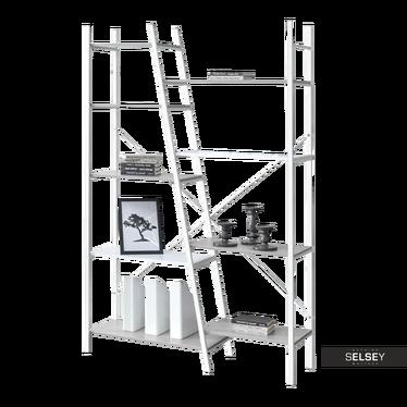 Regał Pyton biały - beton z dziewięcioma półkami loftowy