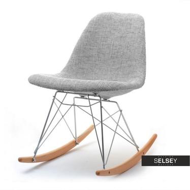 Krzesło bujane MPC roc tap szare tapicerowane z metalowymi cięgnami