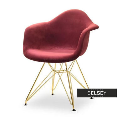 Krzesło MPA rod tap bordowy velvet na złotej podstawie