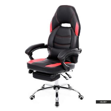 Fotel biurowy Nick czarny z czerwonymi wstawkami i wysuwanym podnóżkiem