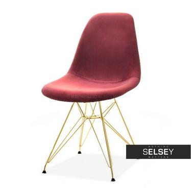 Krzesło MPC rod tap bordowy velvet na złotej podstawie