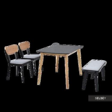 Stół z krzesłami Figaro dąb z czernią