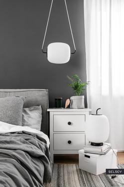 Lampa wisząca Bovil z jasnoszarym przewodem w bawełnianym oplocie