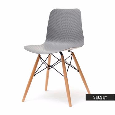 Krzesło Caro szare z tworzywa i drewna