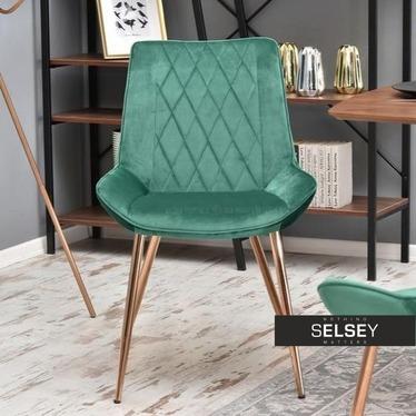 Krzesło Adel zielony velvet na miedzianych nogach duo