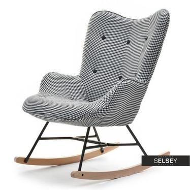 Fotel bujany Sibil pepitka z pikowaniem i guzikami