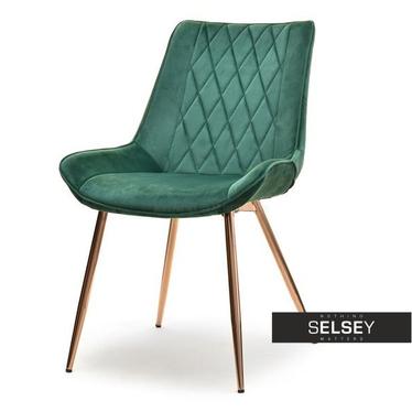 Krzesło Adel zielony velvet na miedzianych nogach