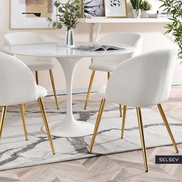 Krzesło Gary biało - złote tapicerowane z podłokietnikami