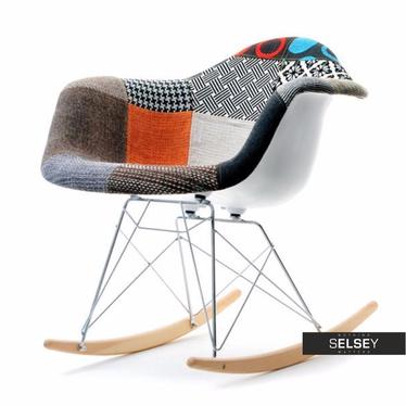 Fotel bujany MPA ROC tap patchwork designerski bujak z podłokietnikami
