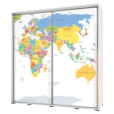 Szafa Wenecja 205 cm Mapa świata na białym tle