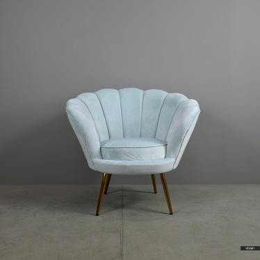 Fotel Giwano jasnoniebieski na złotej podstawie I