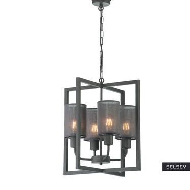 Lampa wiszaca Cteringo x4 z popielatymi klosikami
