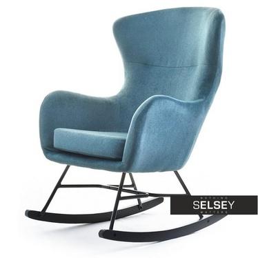 Fotel bujany Nesta niebieski na czarnych płozach