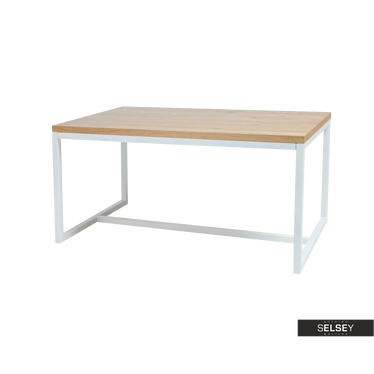 Stół Owens 180x90 cm z białą podstawą z poziomym wzmocnieniem