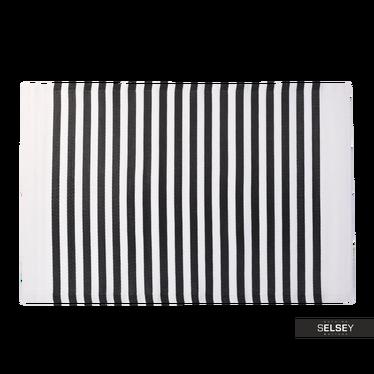 Dywan Outdoor 120x180 cm wąskie czarne pasy na taras