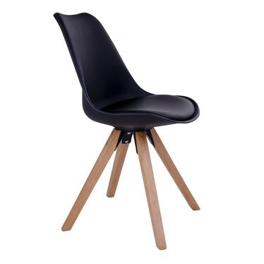 Zestaw dwóch krzeseł Umbreta czarne na drewnianej podstawie