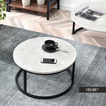Stolik kawowy Kodia średnica 60 cm szary marmur  w czarnym kolorze