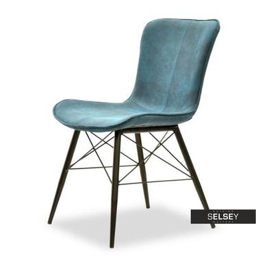 Krzesło Margot niebiesko-czarne z profilowanym siedziskiem