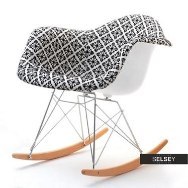 Fotel bujany MPA ROC tap folk modernistyczny na bukowych płozach