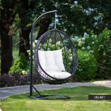 Huśtawka ogrodowa Kokon czarny z kremową poduszką