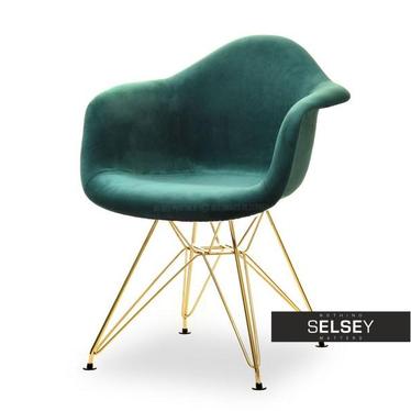 Krzesło MPA rod tap zielony velvet na złotej podstawie