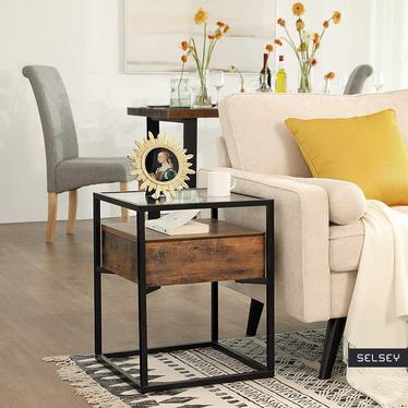 Stolik kawowy z szufladą Ramizu 43x43 cm