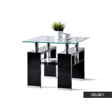 Stolik kawowy Diana 60x60 cm szklana z czarną podstawą