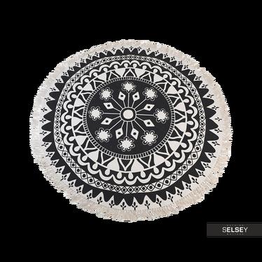 Dywan okrągły z frędzlami ciemny wzór średnica 150 cm wzór 3