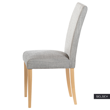 Zestaw dwóch krzeseł tapicerowanych Aterin jasnoszare w tkaninie łatwoczyszczącej na bukowej podstawie