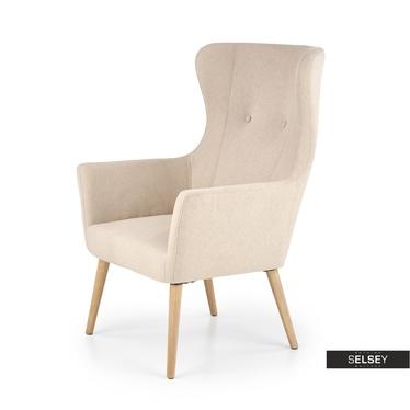 Fotel Sorano na drewnianych nogach - beżowe tapicerowanie